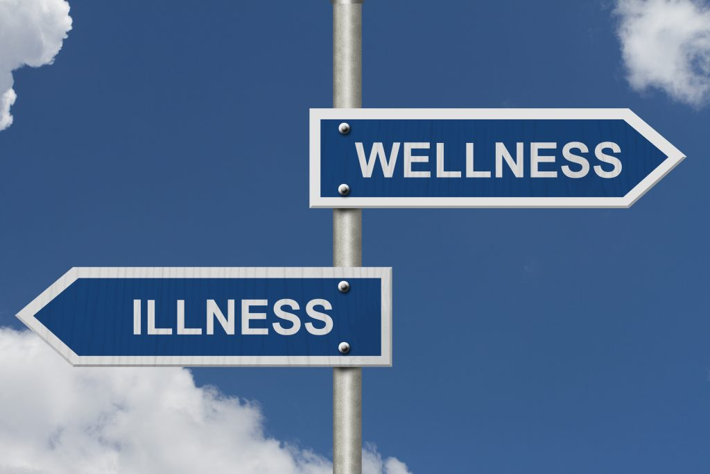 Photo showing choice between wellness and illness