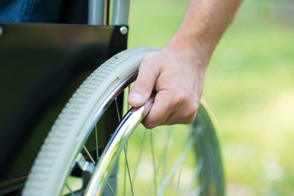 Close up of wheelchair wheel