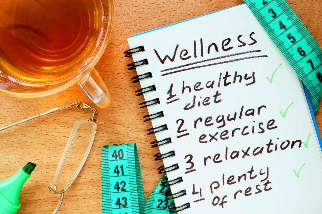 Notepad showing the different components of a wellness lifestyle