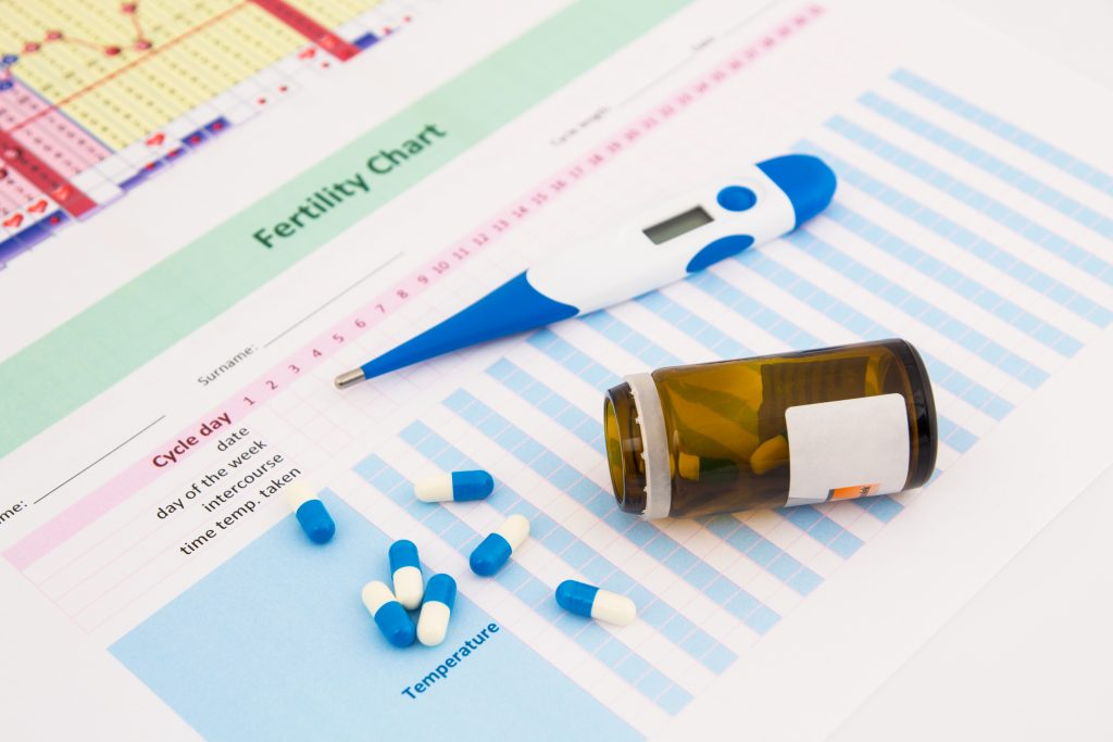 Photo of fertility chart with pills and thermometer