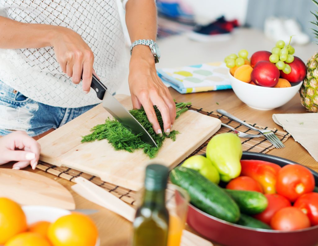 Photo of women preparing a healthy meal