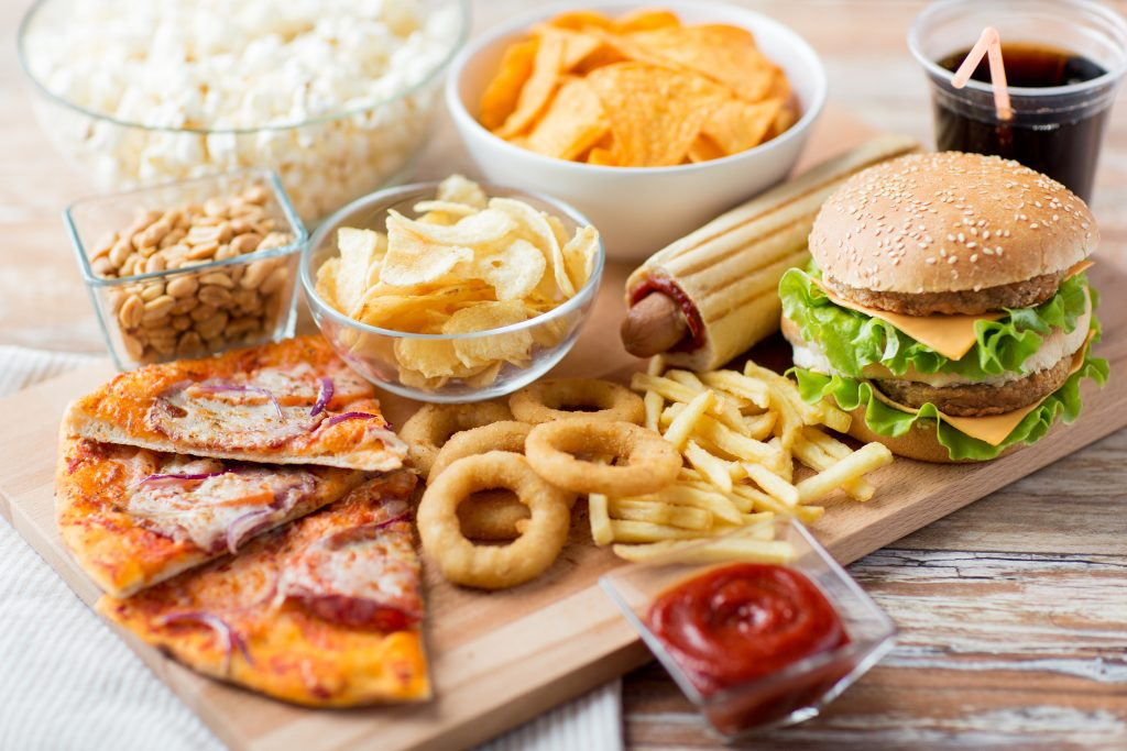 Photo of unhealthy fast food meal